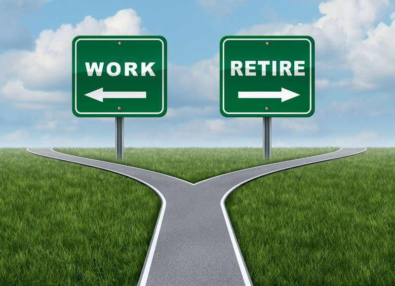 Early retirement is a choice. Two roads diverged. The left arrow points to work. The right arrow points to retire. Which will you choose?