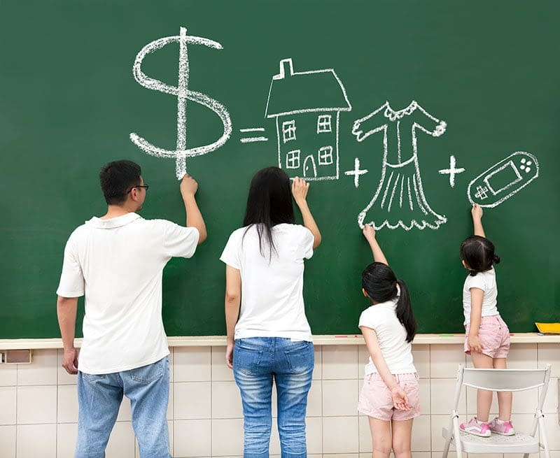 Parents and kids drawing what they want on a chalkboard. Are we rich enough to afford it all?